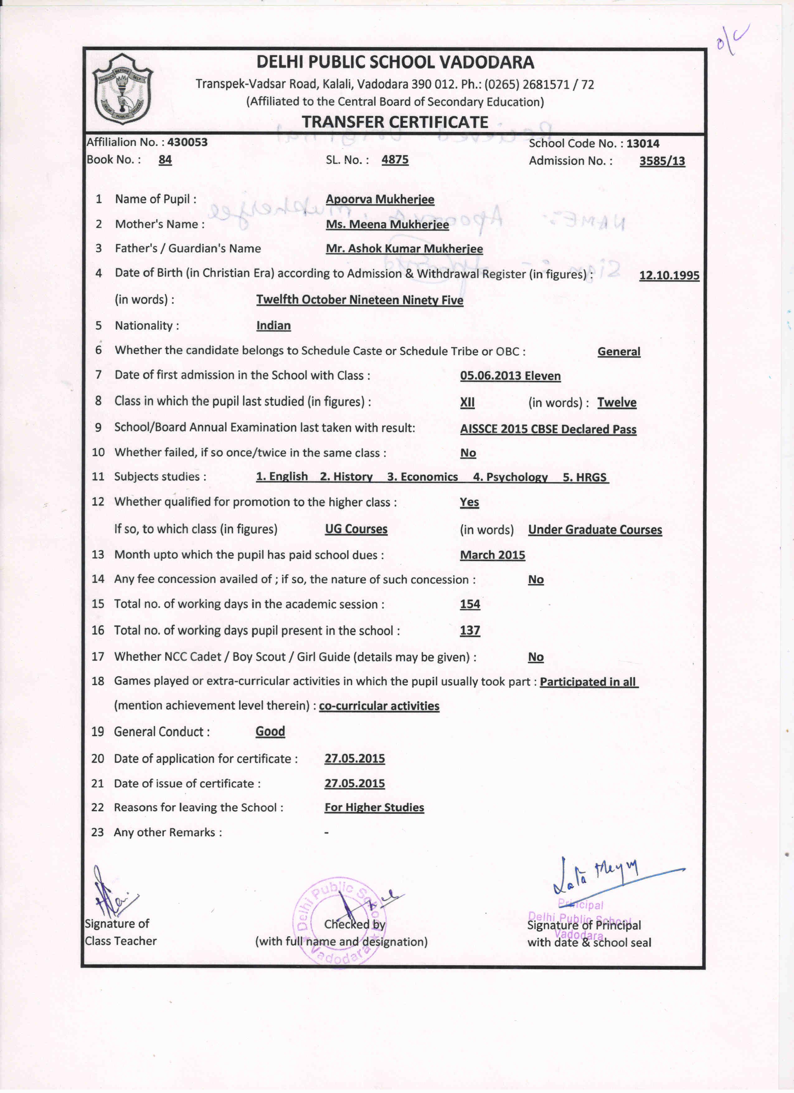 Dps vadodara issued transfer certificate 6 4875 apoorva mukherjee view xflitez Image collections